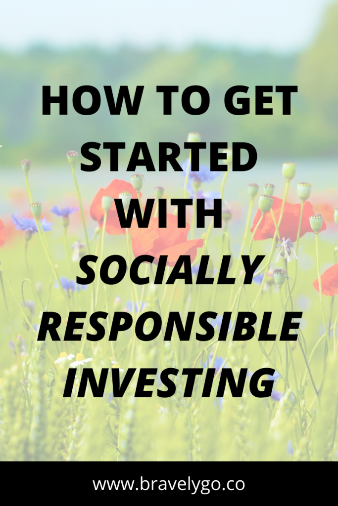 socially responsible investing text with flowers on the background