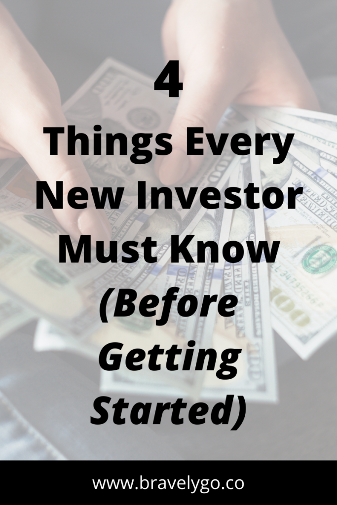 hands holding money on the background with text 4 Things Every New Investor Must Know