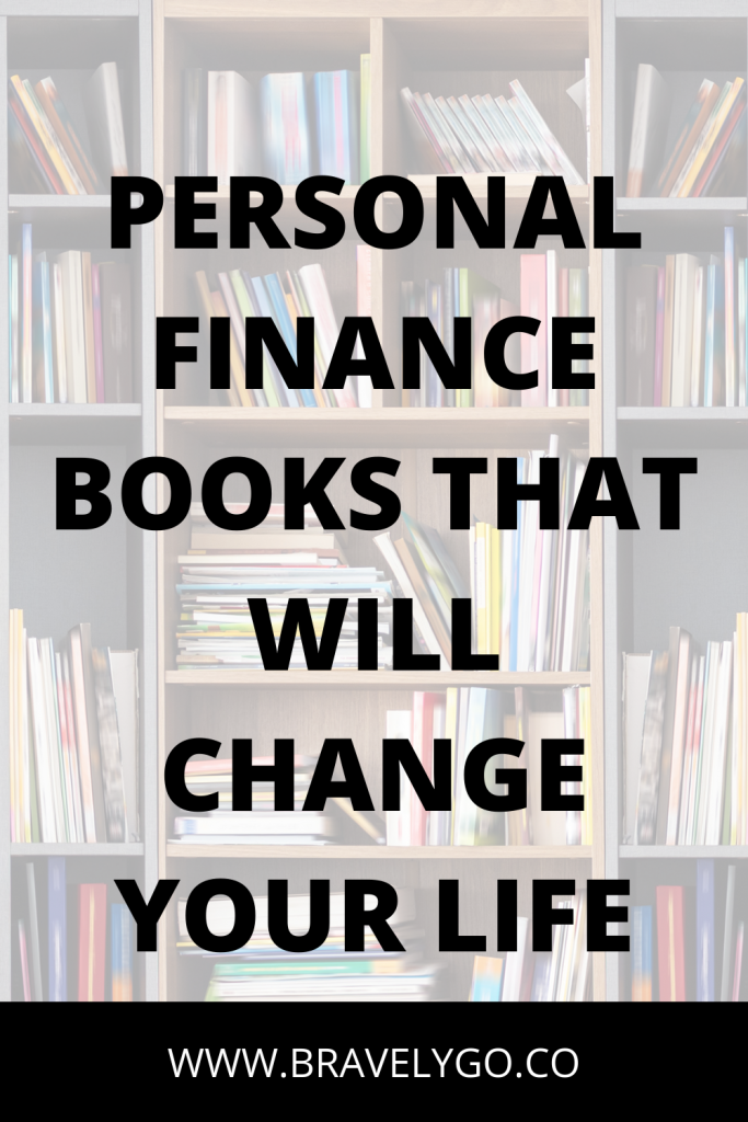 personal finance books blog post cover with bookshelves on the background